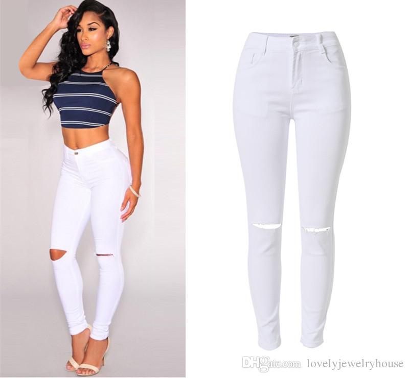 2017022537 Yaz tarzı beyaz delik yırtık kot Kadınlar jeggings serin denim yüksek bel pantolon kapriler Kadın sıska siyah rahat kot