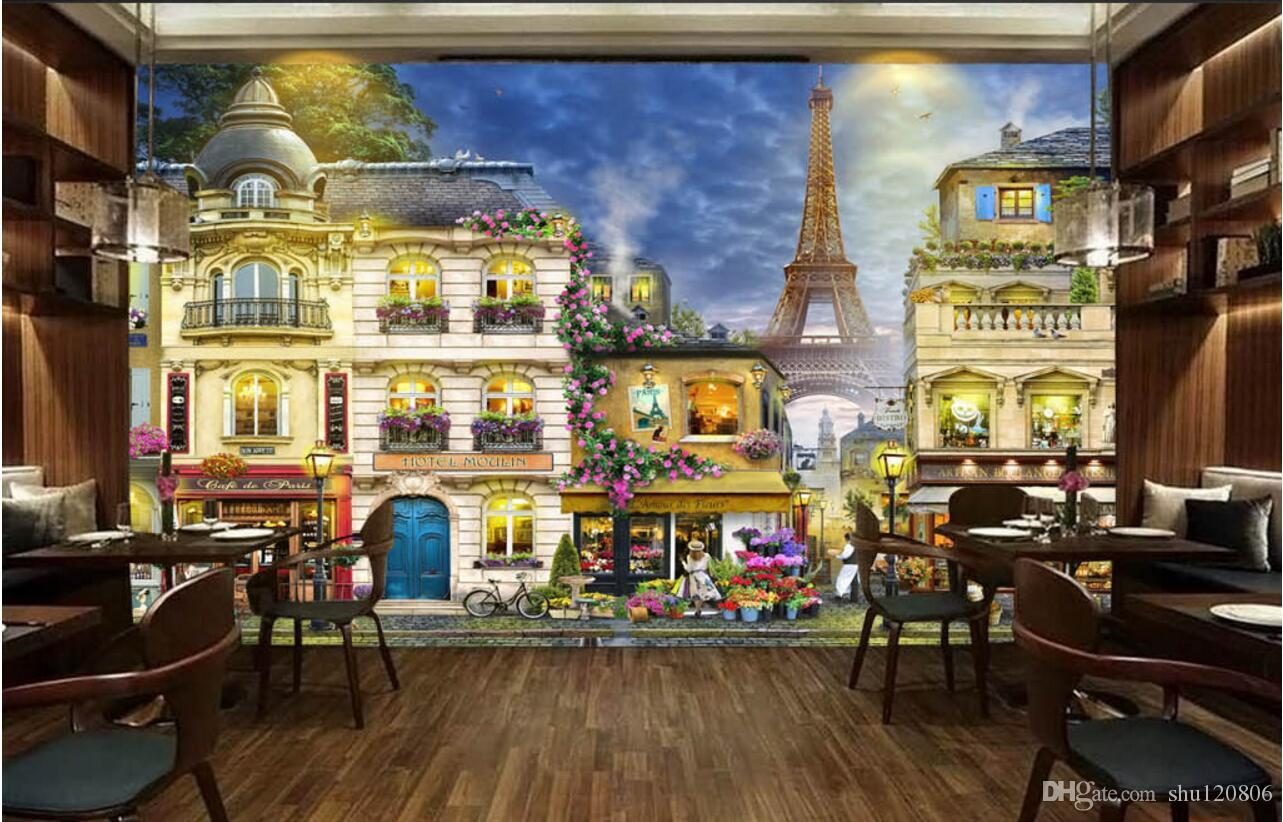 3d room wallpaper custom photo non woven mural romantic for Cafe mural wallpaper