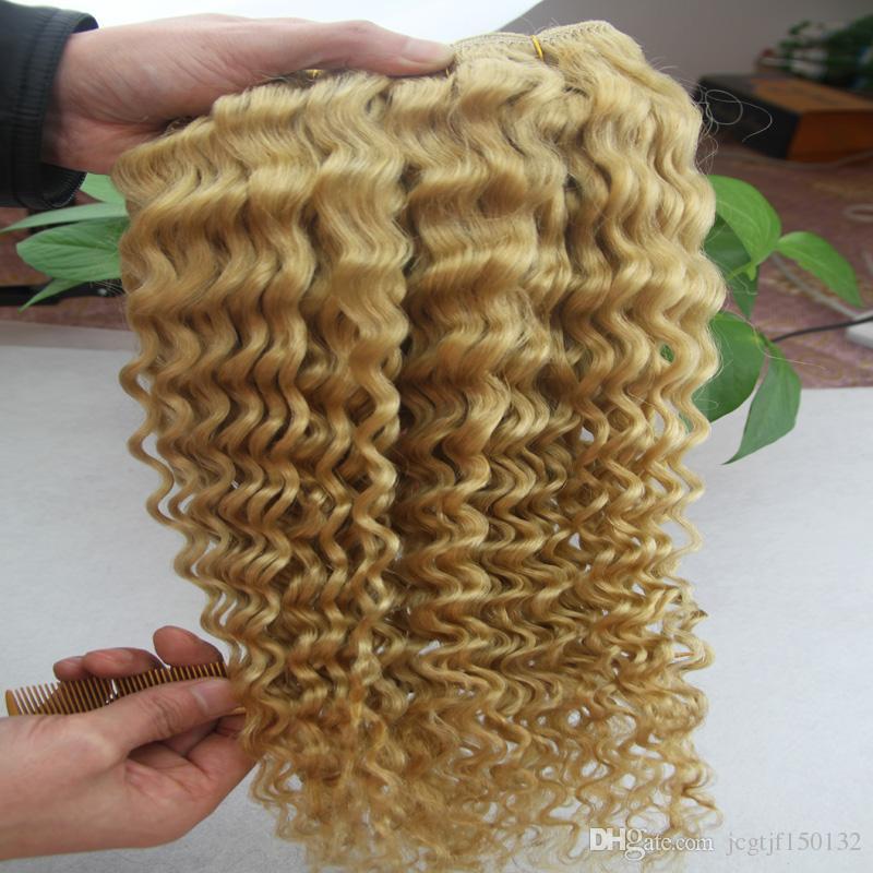 Cabelo brasileiro loiro encaracolado kinky Encaracolado Feixes de Cabelo Humano 100g tecer cabelo loiro Não-remy Tecelagem