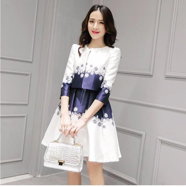 2017 New Spring Summer Women Dress Coat 2016 Slim Edition Floral ...
