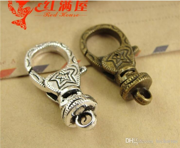 15*30MM Antique Bronze plated alloy swivel lobster clasp for bracelet, vintage silver jewelry clasp for necklace, metal key ring holder hook