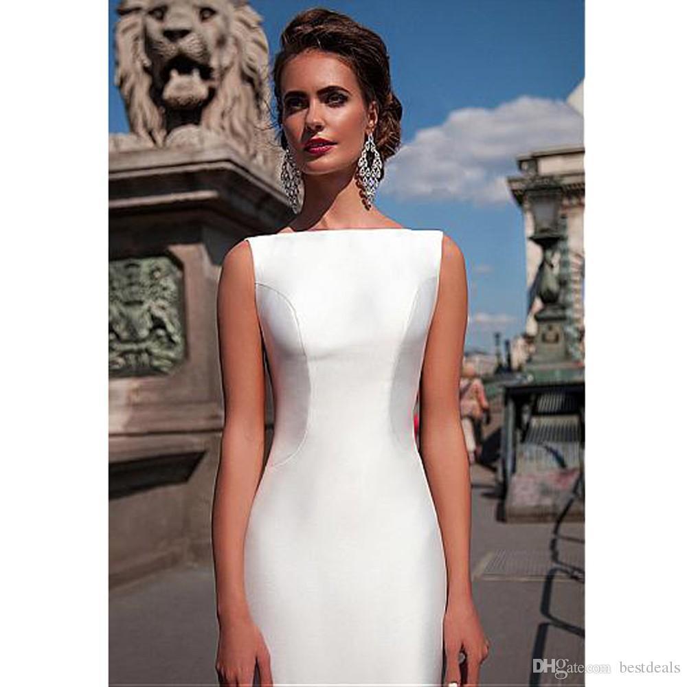 2017 매력적인 바투 넥 라인 인어 웨딩 드레스 탈착식 기차와 웨딩 드레스 드레스 소박 Draped 하드 새틴 웨딩 드레스