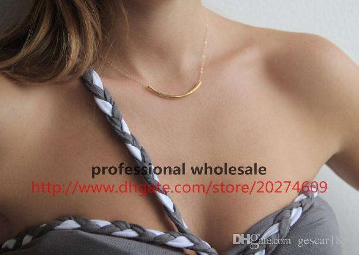 NEW ! Hottest European Style Gold Blank Pipe Pendant Alloy Necklace Decent Jewelry Gift Wholesale High Quality