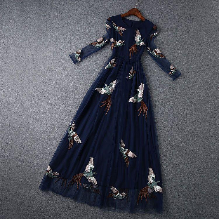 Moda verão Phoenix Bordado Chiffon Net Fio Mulheres Magras Vestidos Longo-sleeved Sexy Vestido Plus Size Roupas Femininas