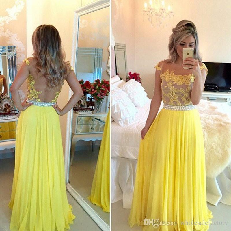 A Line Prom Vestido Cap Manga Sheer Jewel Pescoço Vestidos de Baile com Apliques de Renda Sexy Amarelo Transparente Longo Chiffon Vestido de Noite Formal