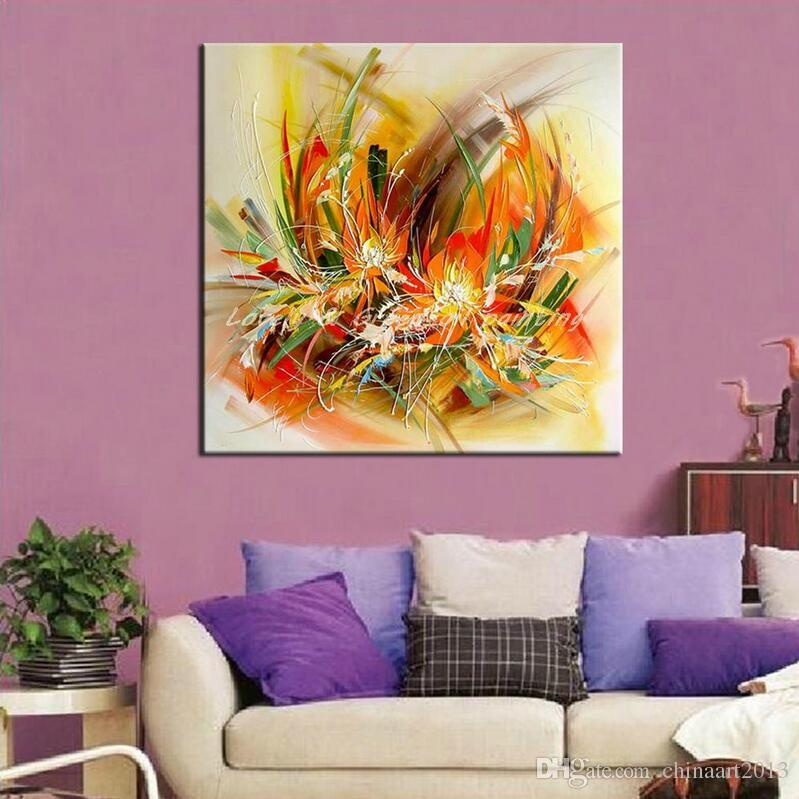 2018 Modern Artist Hand Painted Abstract Flowers Oil Painting On ...