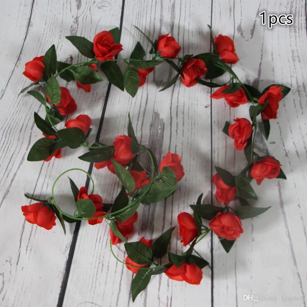 Artificiale Rose Garland Silk Flower Vine Ivy Home Wedding Garden Decorazione rosso bianco foglie verdi 180cm