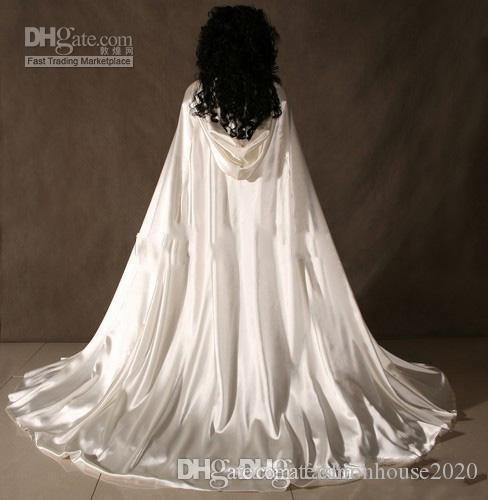 Custom New Cheap Romantic Cheap Hooded Bridal Cape Ivory White Long Wedding Cloaks With Satin Wedding Bridal Wraps Formal Bridal Cloak