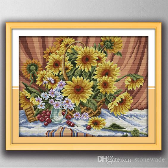 Colorful Sunflower basket home decor paintings , Handmade Cross Stitch Embroidery Needlework sets counted print on canvas DMC 14CT /11CT