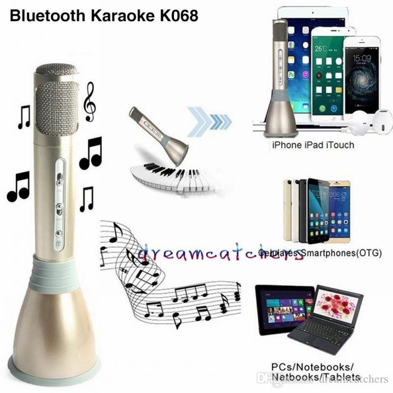 Moda Mini Karaoke Player K068 Mikrofon Bluetooth Kablosuz Mic Hoparlör Kondenser KTV Sing Android IOS Telefon Bilgisayar için