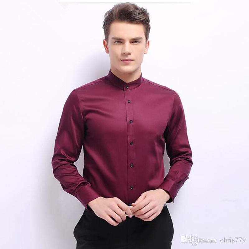 Les costumes des hommes chemise chemise col mandarin nouveau design smoking hommes chemise faite sur mesure à manches longues marié costumes costumes chemise
