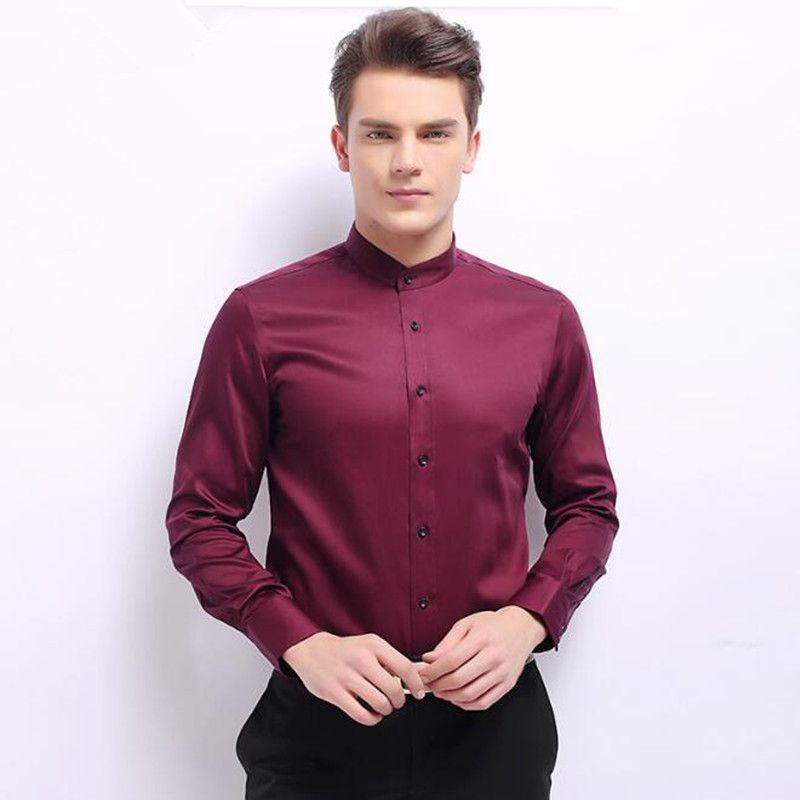 Men suits shirt mandarin collar new design men's wedding tuxedos shirt custom made long sleeve groom prom suits shirt