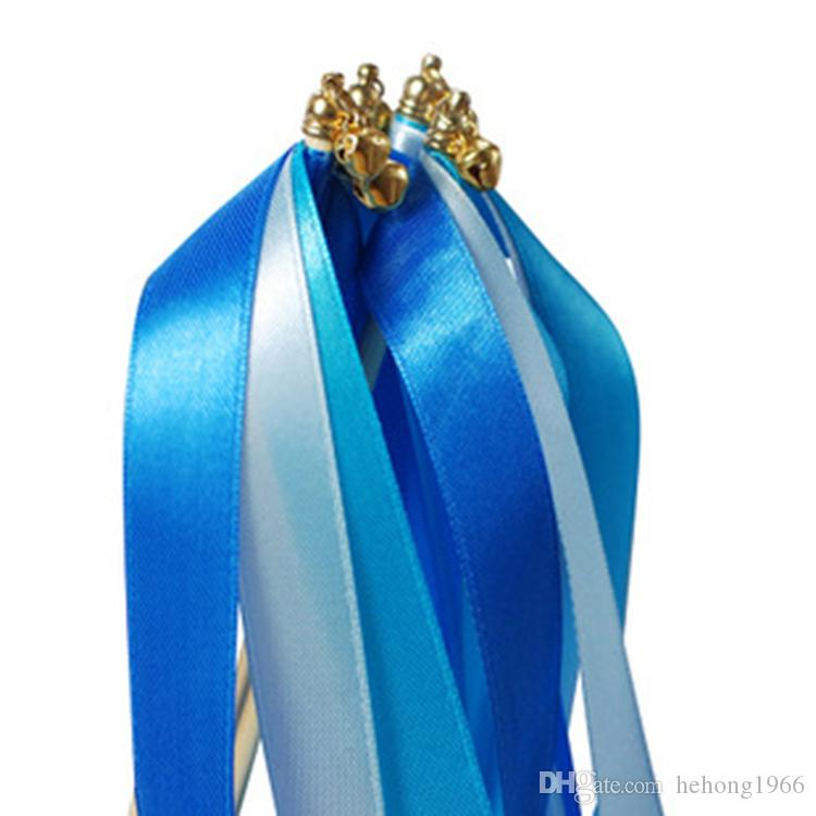 Twrling Fairy Ribbon Streamers Romantic Wedding Decoration Colorful Wooden Ribbons Stick With Bells Confetti Sticks Flexible 15 2ms B R