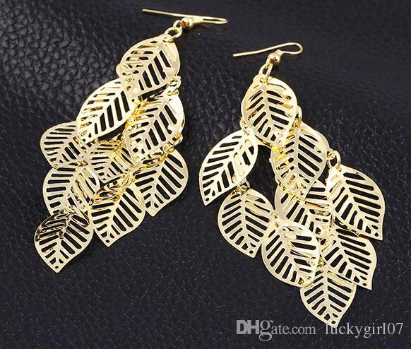 Popular Design gold Leaf Dangle Earrings fashion jewelry wedding gift for a woman Christmas Gift Earing Jewelry