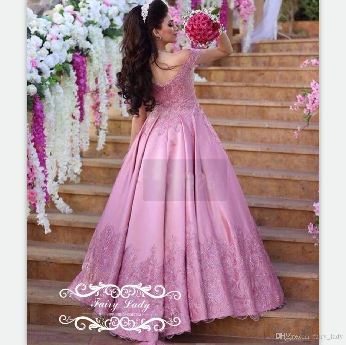 Puffy A Line Long Pink Lace Evening Dresses With Sleeves 3D-Floral Appliques Beads Elegant Arabic 2017 Middle East Women Party Prom Gown