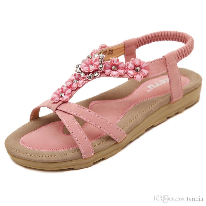 1c94954eac0 Compre Bohemia Zapatos De Moda Sandalias De Mujer Zapatos De Mujer Nuevos  Skid Flower Sandalia Feminina Elegantes Sandalias De Verano. LX 022 A  $22.67 Del ...