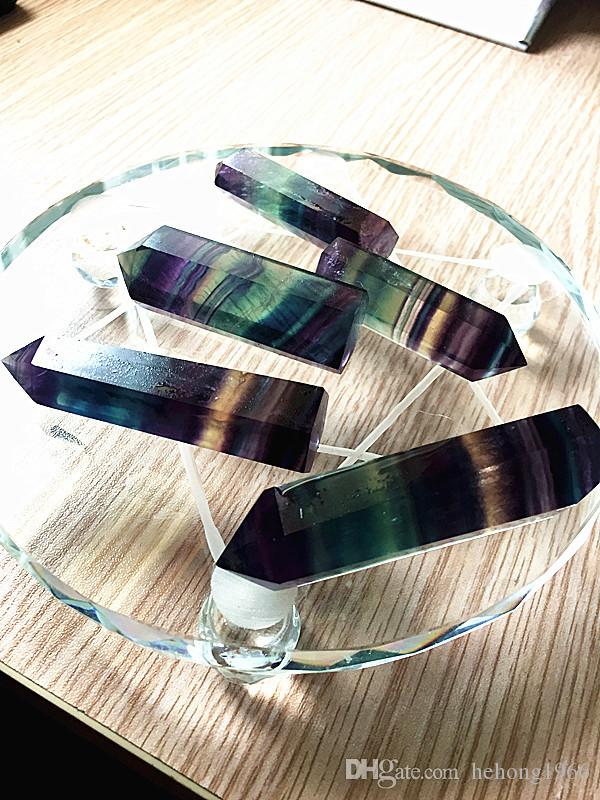 Cristaux Tour Points Quartz couleur naturelle fluorite arc-en-Stripe point Reiki Cristal Obelisk Baguette de guérison Chakra Pierre Home Décor 10 sz B