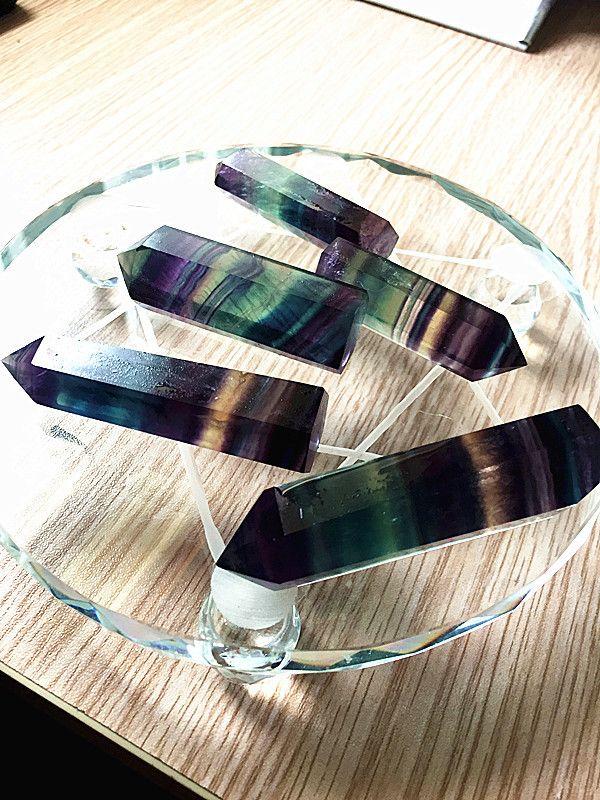 Gökkuşağı Renkli Kristaller Puan Doğal Florit Şerit Noktası Kuvars Reiki Şifa Kristal Cure Çakra Taş Ev Deco Için 10 sz B
