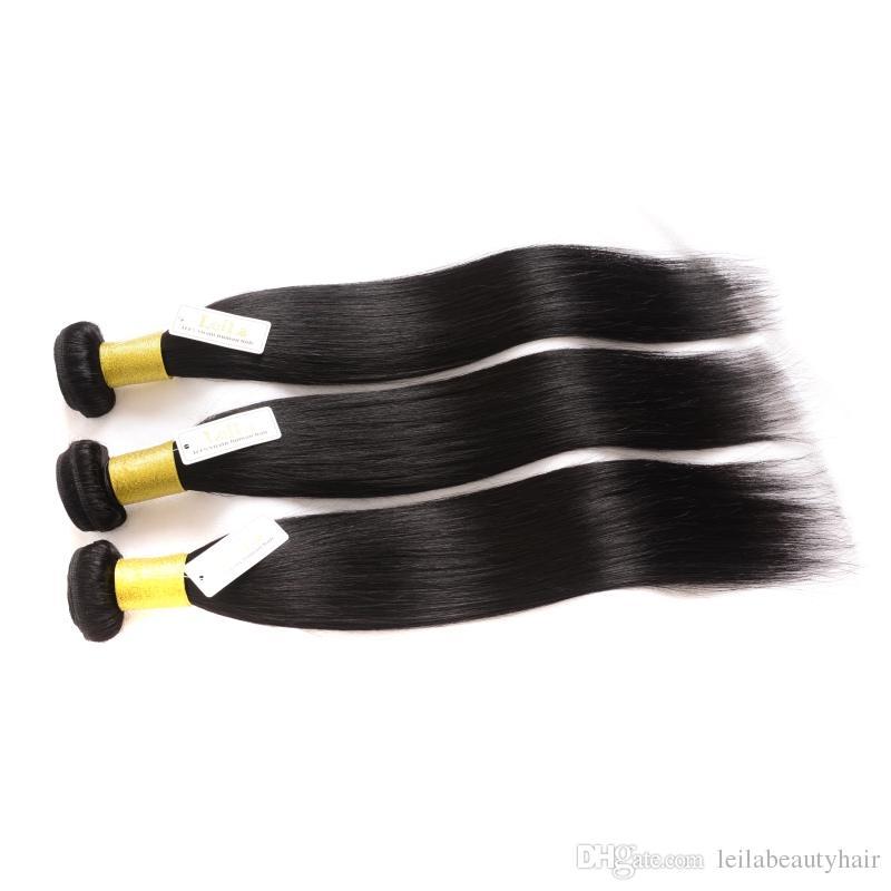 Peru Düz İnsan Saç Leila Doğal Renk Düz Saç 8-40 inç Çift atkıların Saç Uzantıları XPression remy 30 inç