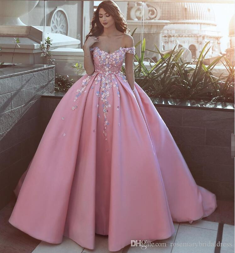 Del Rosa Vestidos Color De Compre Línea A La Novia Hombro Nnwk0P8XO