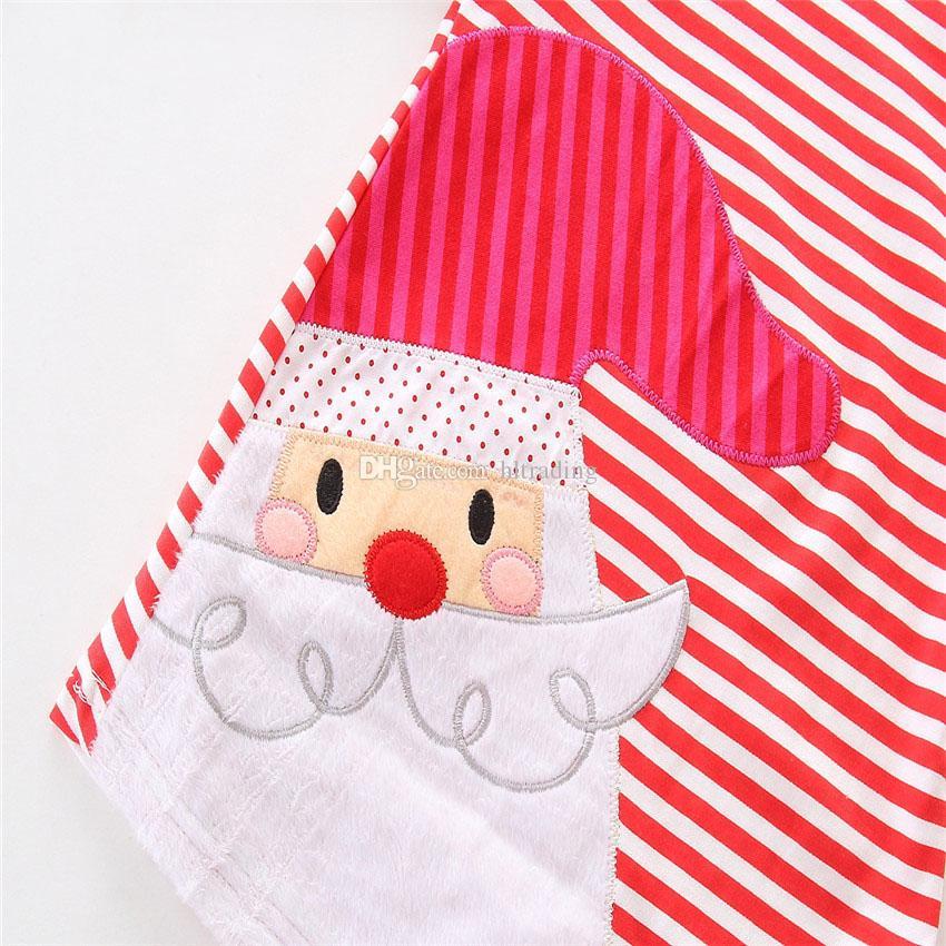 Новорожденных девочек Рождество оленей Санта-Клаус платье мультфильм Дети в полоску платья принцесс Xmas детский костюм C2573