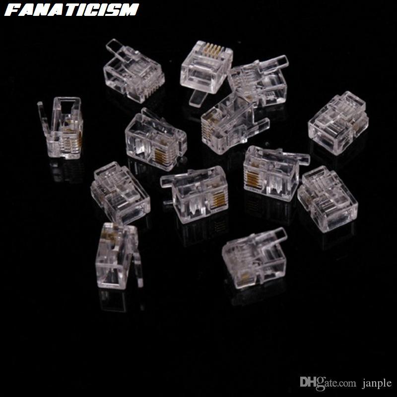 / Qulaity 6 Pin 4 Kontakte RJ11 RJ11 Adapter Modularstecker 6P4C 6P2C 6P6C Telefon Stecker Kristall Leiter Adapter