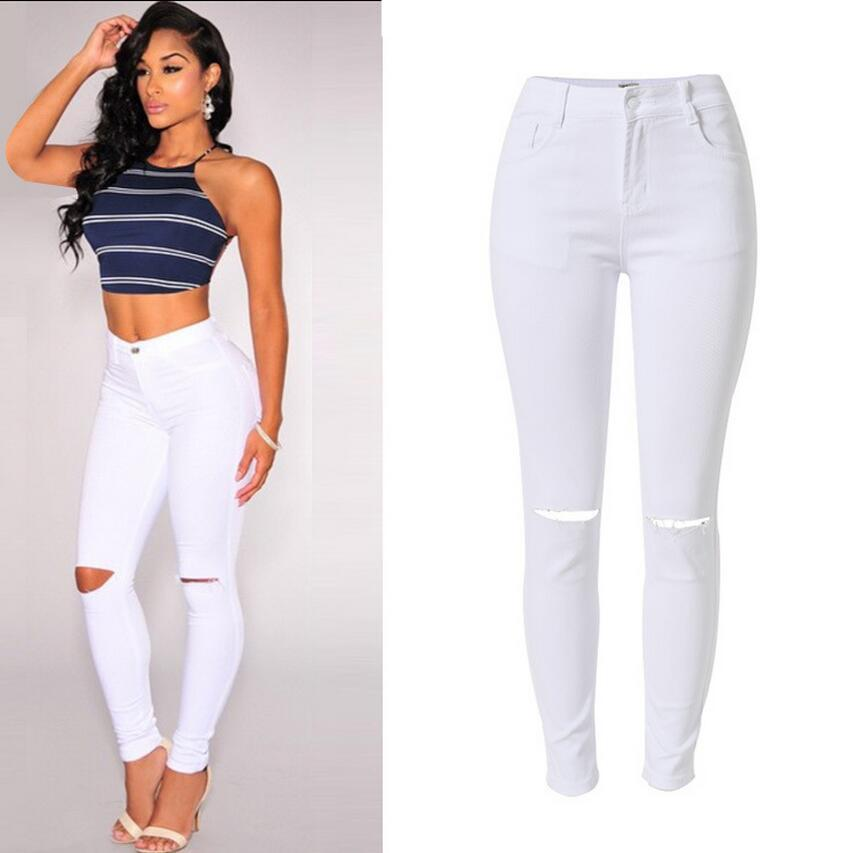 a28bdbf63090e Acheter Design Fashion Taille Haute Jeans Slim Femme Pantalon Blanc Stretch  Blanc Avec Poches Denim Hole Pour Femmes De $29.53 Du Tanzhilian1 |  DHgate.Com