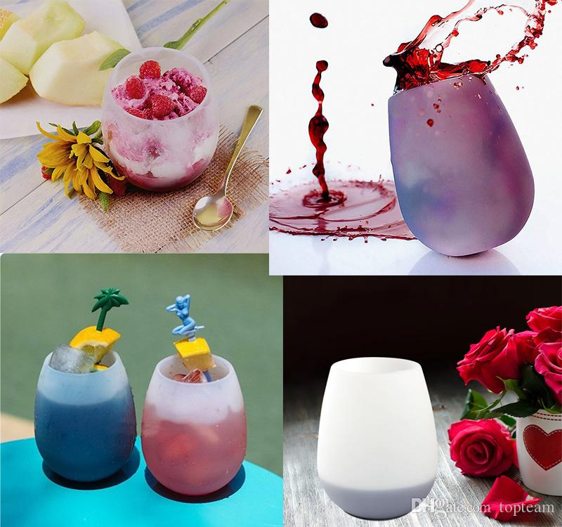 Silicone Wine Glass Silicone Unbreakable Stemless Rubber Beer Mug Outdoor  Cup Glass Wine Glass Recyclable Drinking Cups