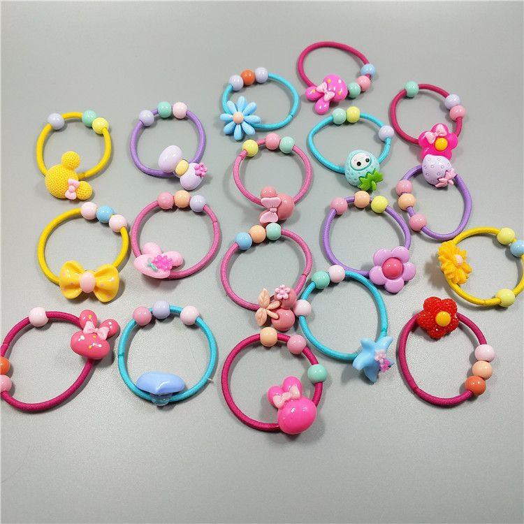 새로운 한국 다채로운 플라스틱 Elastics 어린이 귀여운 만화 사탕 색 고무 밴드 아기 소녀 헤어 액세서리 머리 장식