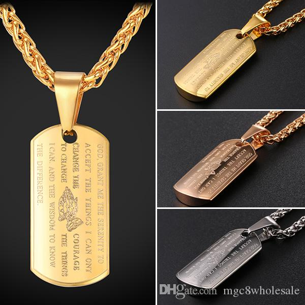 U7 Dog Tag Praying Hands Pendants Necklaces with Bible Verse Gold