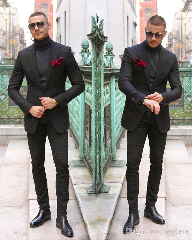 أنيق أسود رجالي بدلة قطعتين مخصص الزفاف البدلات الرسمية يتأهل العريس الدعاوى الرسمية سترة + بنطلون