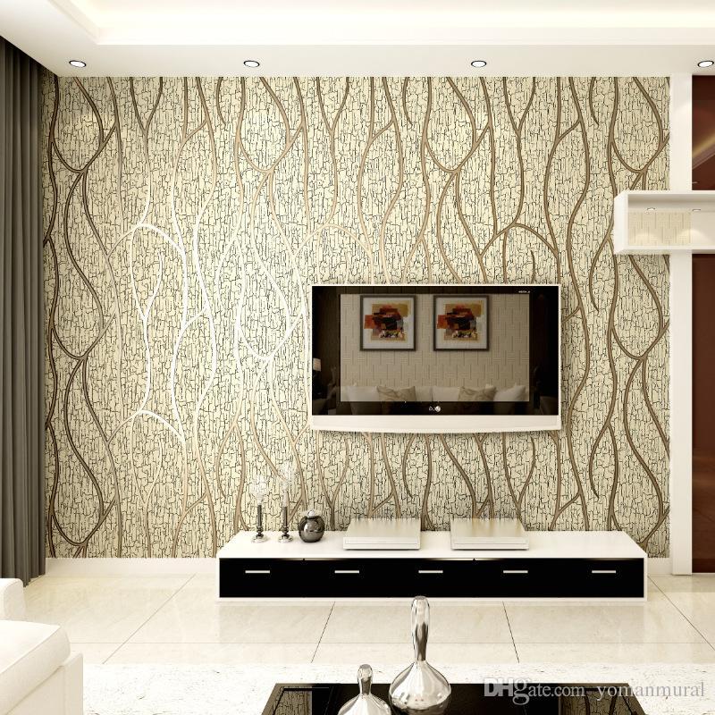 Modern 3d Embossed Deerskin Line 3d Flocking Wallpaper For Bedroom