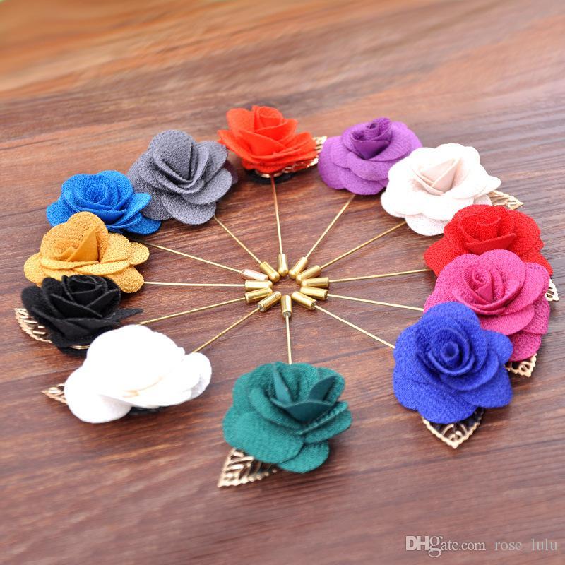 الأزياء والمجوهرات خمر نوبل القماش زهرة رجل امرأة كاميليا اليدوية العروة عصا بروش دبابيس اكسسوارات رجالية في 11 الألوان