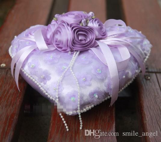 Wedding Ring Pillow favors red pink white purple color with pearl flower Decorations Fascinator Favor new arrival hot