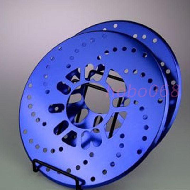4X Blu Alluminio Universale Disco da Corsa Disco decorativo Copertura del rotore del freno Decorazione del tamburo DIY CASE s