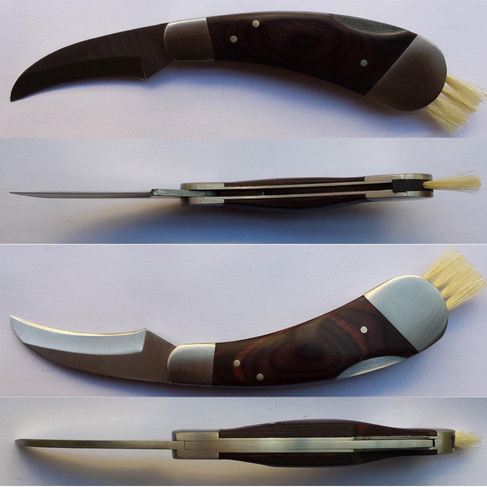 Pilzmesser mit Wildschweinborste Außen Pilz Trüffel Jagd Scharfen Messer mit Pinsel und Neopren Pouch