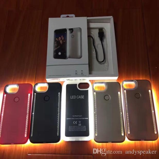 new styles bf831 12bef Light Up Duo Case for iPhone X SE 6 7 8 Plus Selfie Luminous Cover with  Retail Package 30pcs/up