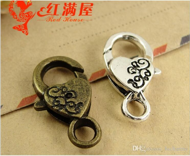 15*26*5.5MM Antique Bronze heart shaped lobster clasp for bracelet, vintage silver jewelry clasp for necklace, metal key ring holder hook