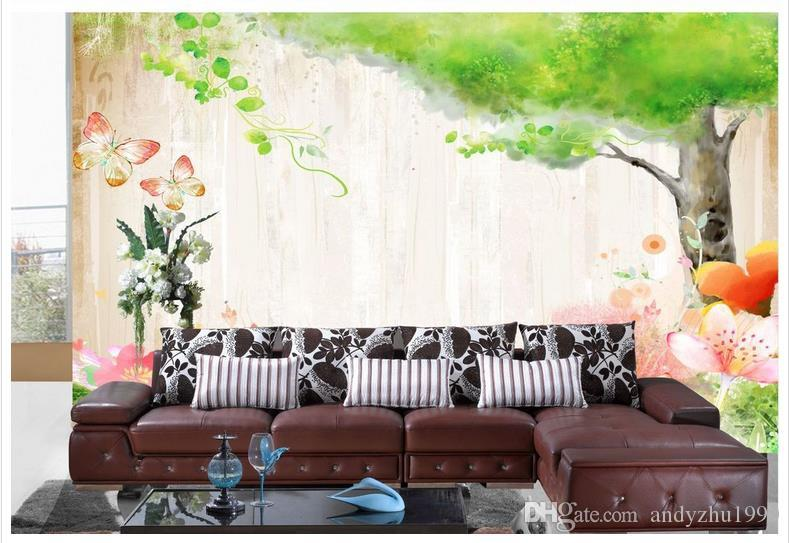 3D photo wallpaper custom size mural non-woven wallFlowers from the butterflies and green trees 3D Mural wallpaper