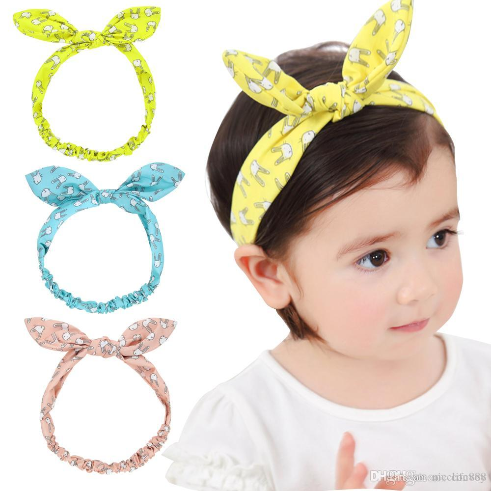 Fashion Baby Headbands Animal Print Hairbands Girls Bunny Ear Head ... aef5713c8840