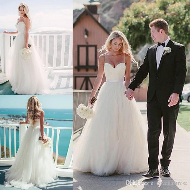 Discount Pure White Beach Aline Wedding Dresses 2017 Backless Sweetheart  Floor Length Vestido De Noiva Simple Bridal Gowns Cheap Off The Rack Wedding  ... 739edf8c77b4
