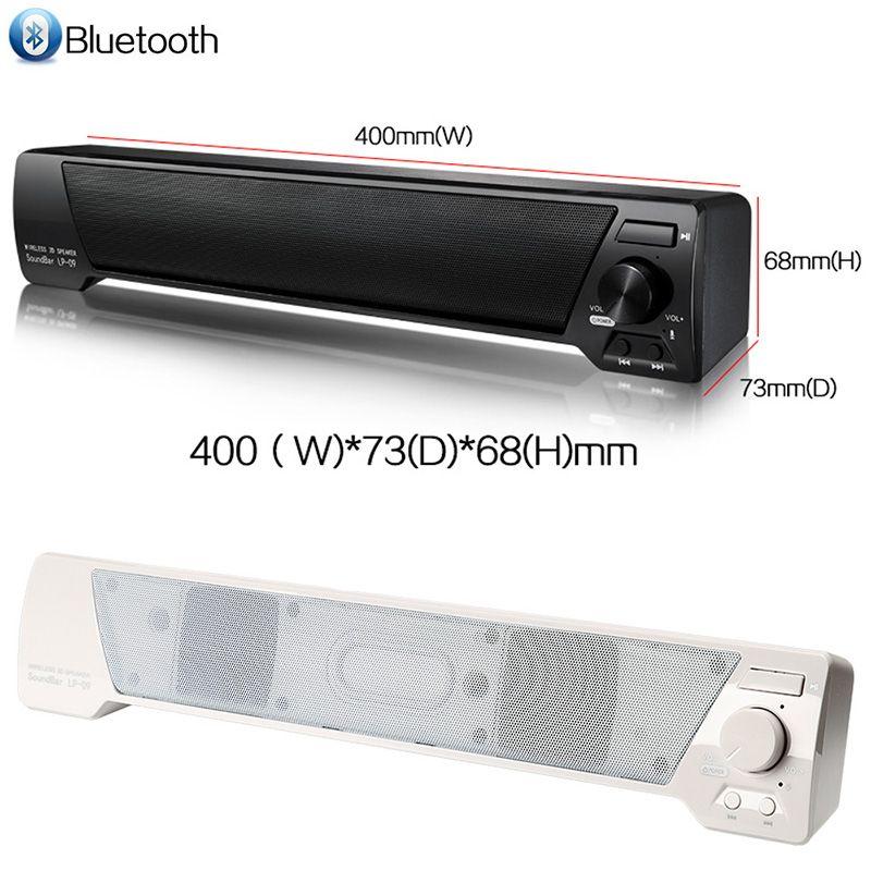 LP-09 Soundbar HIFI Box 10W USB Portable Audio Players Bluetooth Speaker with FM Column Sound Bar For Small TV Smart Phone Computer MIS152