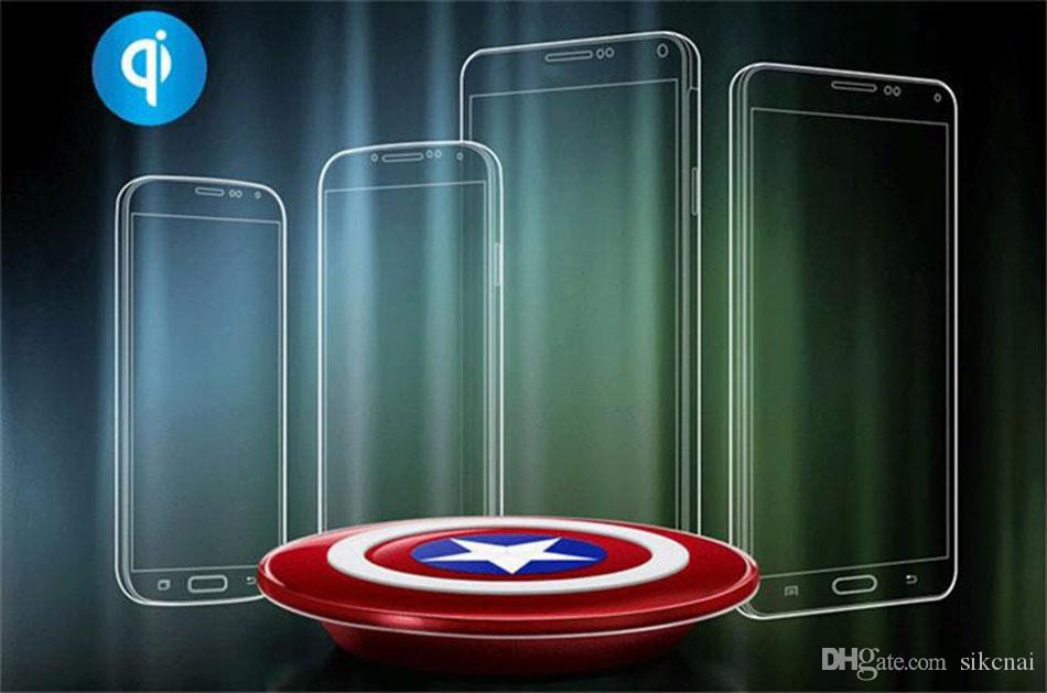 Captain American cell phone Qi Wireless Charger charging pad For SAMSUNG Galaxy S6/S7 Edge G920 G9250 cargador inalambrico chargeur sans fil