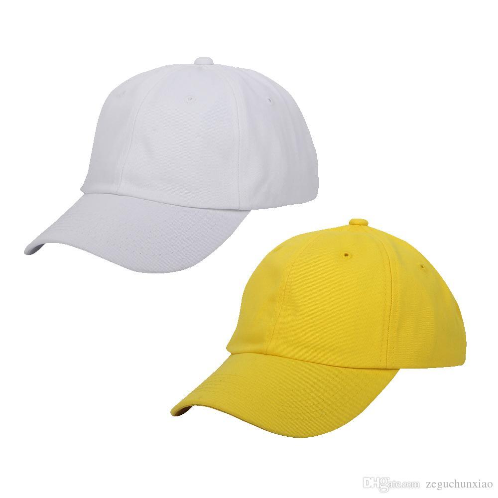 e8a195e895d Unisex Baseball Caps Strapback Solid Hats 6 Panels White And Yellow Golf  Caps Summer Cap Polo Visor Cap Cap Online Starter Cap From Zeguchunxiao