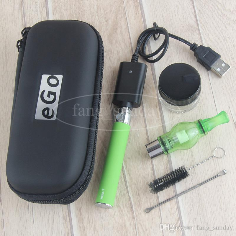 China Direct eGo T Glass Globe Wax Dome Vaporizer Pen with Glass Jar Container 650 900 1100 mah EVOD Dab Pens Starter Kit