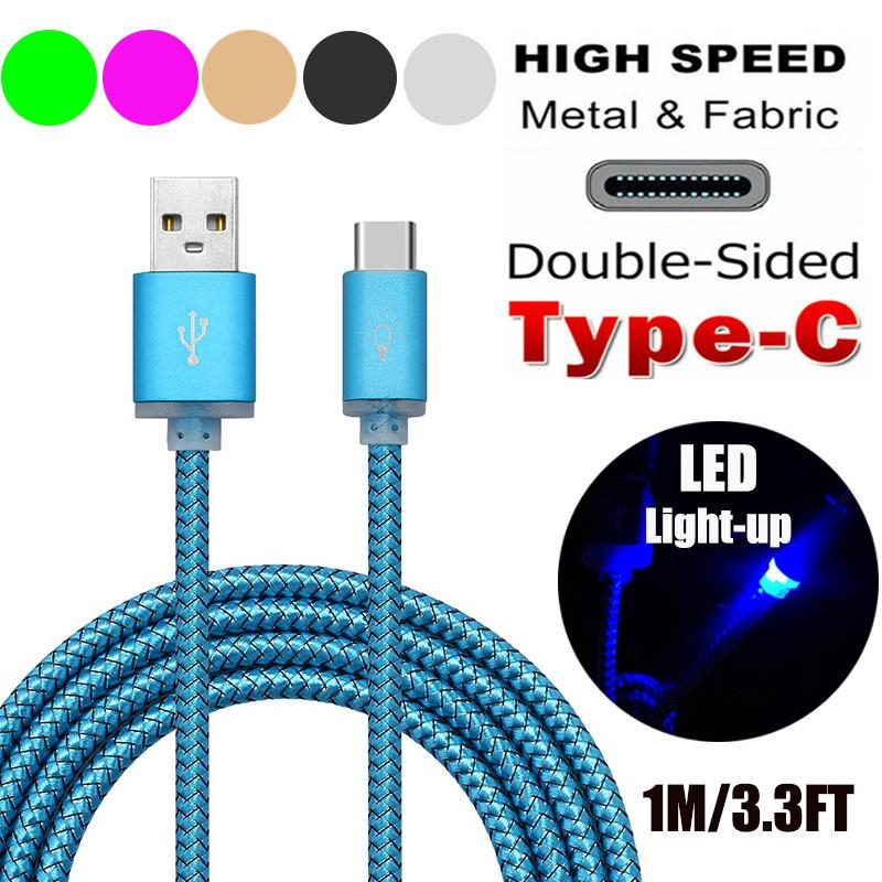 New 1m Visible Led Light Up Braided Usb 3.1 Type C Data Sync Charger ...