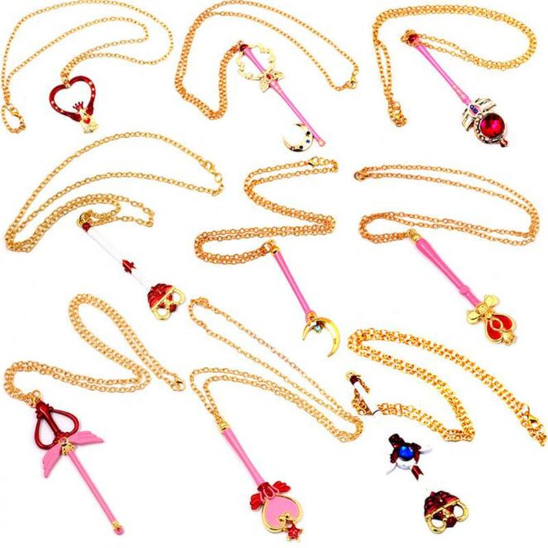 Sailor Moon Anime Sailor Moon Wand Pendant Necklaces With Rhinestone Gold Plated Necklaces & Pendants Hot Sale