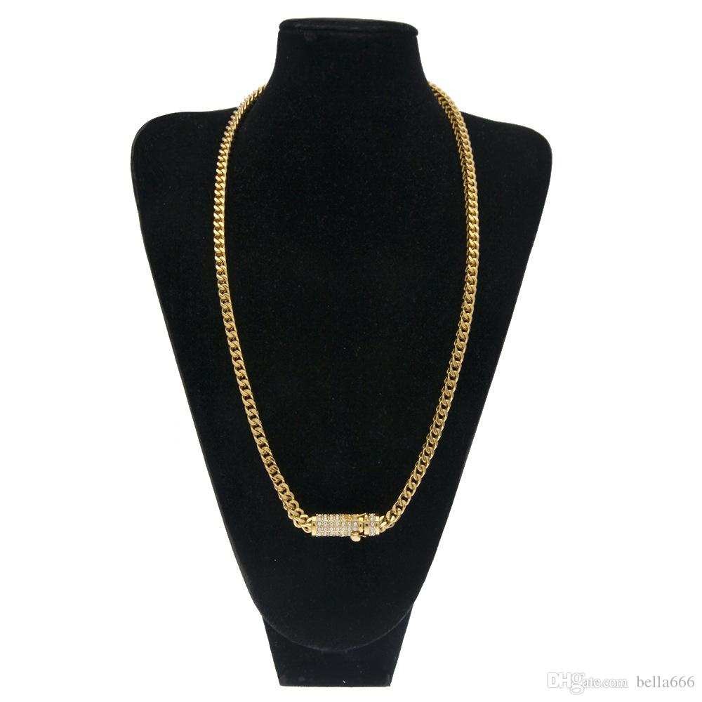 New Men Hip Hop Rhinestone Insured Buckle Necklace High Quality Stainless Steel Gold Plated Hiphop Franco Cuban Box Chain Necklaces Jewelry