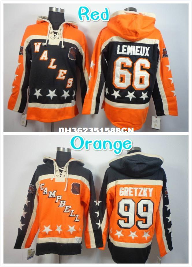 new concept 24f92 1aa94 Mens 99 Wayne Gretzky 66 Mario Lemieux Hockey Hoodies Jersey Orange