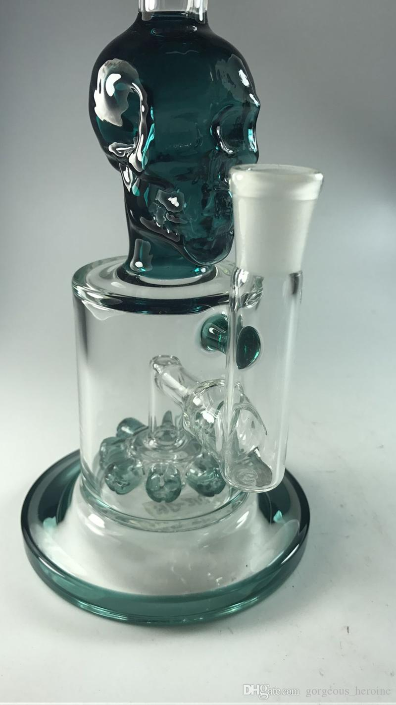 Cool Fashion Dark Green Skull Glass Bongs 27cm Tall 14.4mm Joint Dab Rig 8 Bead Percolators Two Function Recycle Water Pipes Heady Hookahs